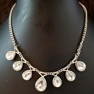 Cubic zirconia silver necklace